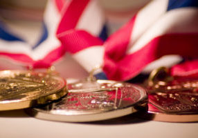 Gold, silver, and bronze medals.